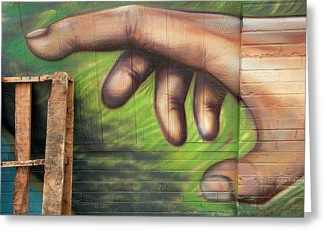 Cleaning Up - Artistic Hand Reaching For A Real-life Skid Greeting Card by Mitch Spence