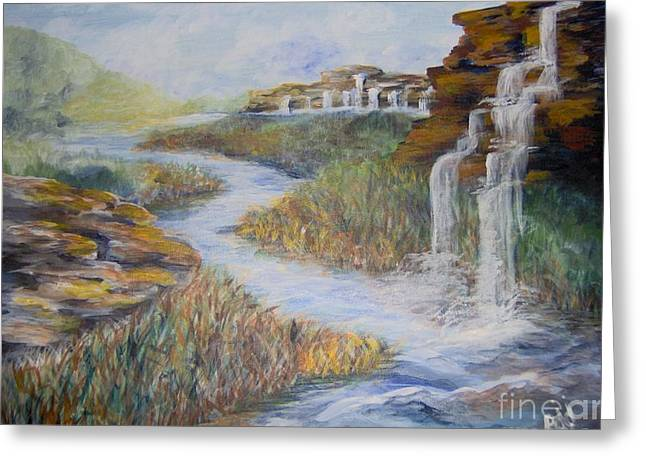 Greeting Card featuring the painting Cleansing by Saundra Johnson
