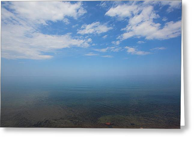 Clear Blue Waters With Clouds, Lake Superior Greeting Card