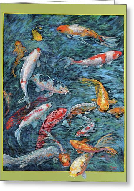 Greeting Card featuring the painting Clear Creek Koi With Painted On Mat by Charles Munn
