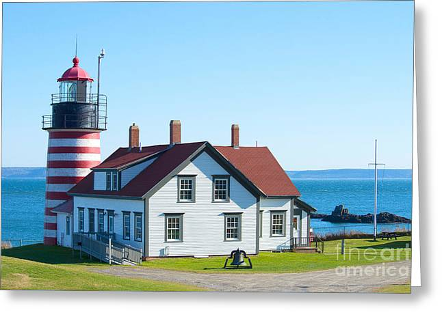 Clear Day At West Quoddy Head Lighthouse Greeting Card by Alana Ranney