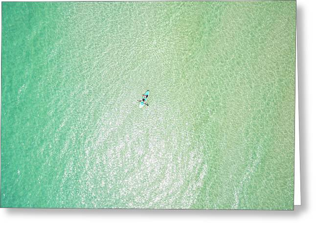 Clear Gulf Paddle Board Aerial Greeting Card