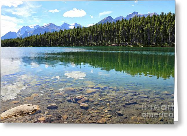 Clear Hector Lake With Mountain Range Greeting Card