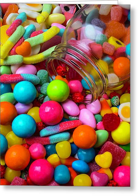 Clear Jar Spilling Candy Greeting Card
