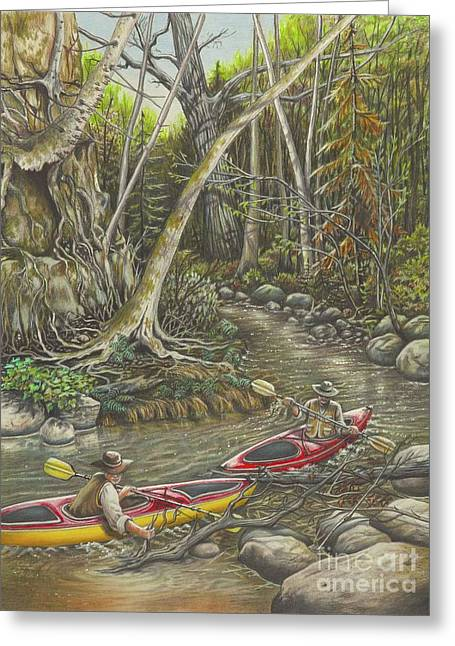 Clearing The Creek Greeting Card