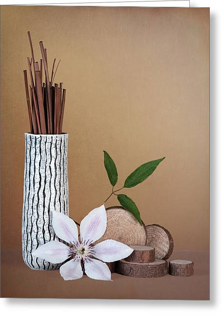 Clematis Flower Still Life Greeting Card by Tom Mc Nemar