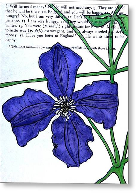 Clematis Greeting Card by Kelly Basinger