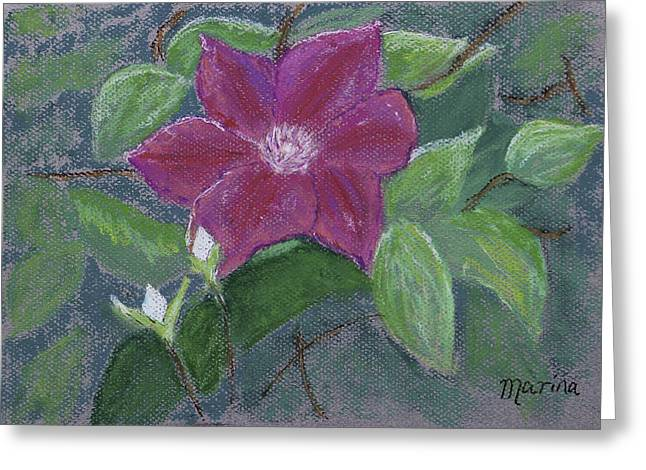 Clematis Greeting Card by Marina Garrison