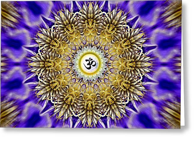 Clematis Om Mandala Greeting Card by Richard Copeland