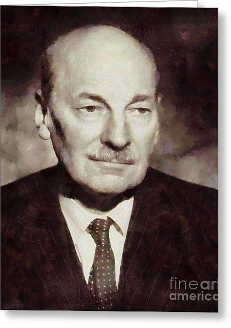 Clement Attlee, Prime Minister United Kingdom By Sarah Kirk Greeting Card