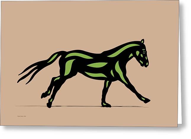 Clementine - Pop Art Horse - Black, Geenery, Hazelnut Greeting Card