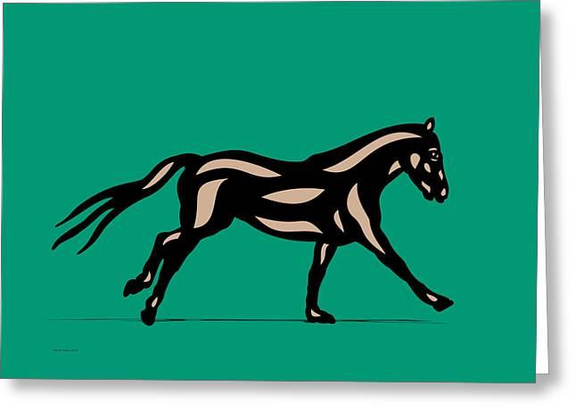 Clementine - Pop Art Horse - Black, Hazelnut, Emerald Greeting Card