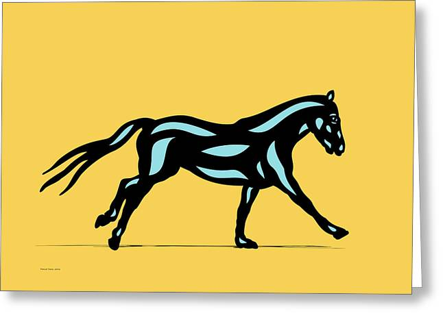Clementine - Pop Art Horse - Black, Island Paradise Blue, Primrose Yellow Greeting Card