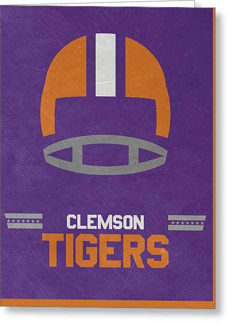 Clemson Tigers Vintage Football Art Greeting Card by Joe Hamilton