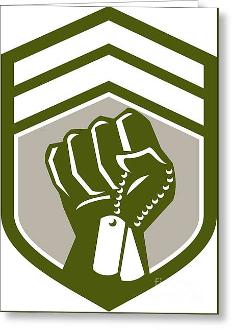 Clenched Fist Dogtag Crest Retro Greeting Card