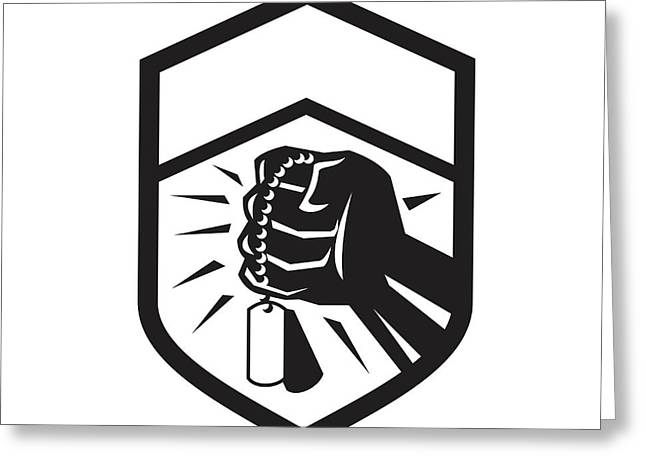 Clenched Fist Holding Dogtag Crest Retro Greeting Card