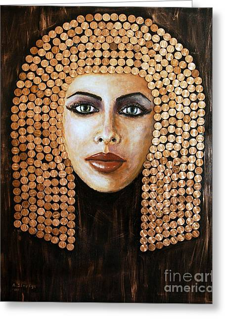 Greeting Card featuring the painting Cleopatra by Arturas Slapsys