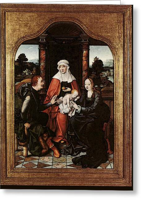 Cleve Joos Van St Anne With The Virgin And Child And St Joachim Greeting Card