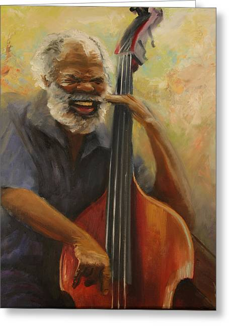 Cleve Playing The Jazz Greeting Card by Jill Holt