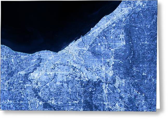 Cleveland Abstract City Map Satellite Image Blue Greeting Card