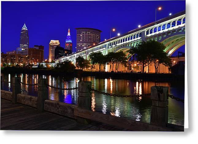 Cleveland Boardwalk Skyline Greeting Card