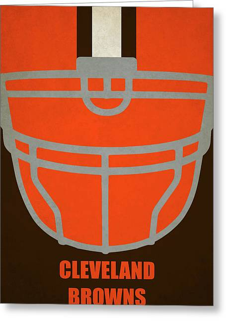 Cleveland Browns Helmet Art Greeting Card by Joe Hamilton
