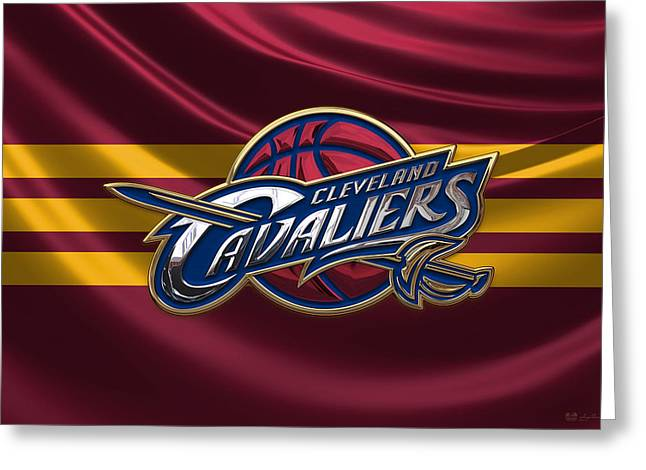 Cleveland Cavaliers - 3 D Badge Over Flag Greeting Card