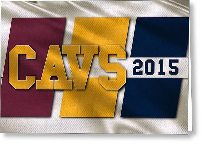 Cleveland Cavaliers Flag Greeting Card by Joe Hamilton