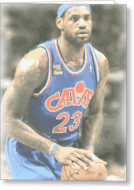 Cleveland Cavaliers Lebron James 1 Greeting Card by Joe Hamilton