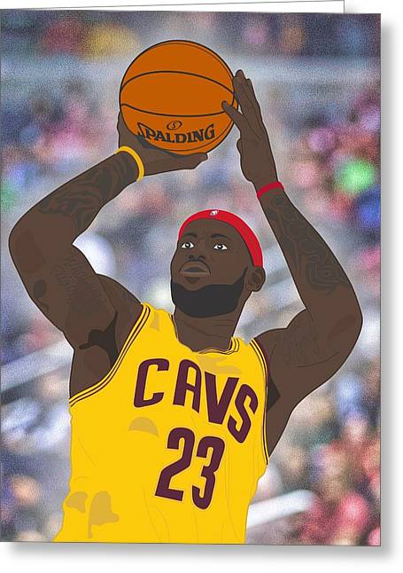 Cleveland Cavaliers - Lebron James - 2014 Greeting Card by Troy Arthur Graphics