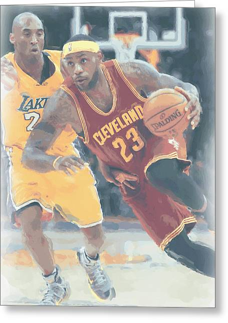 Cleveland Cavaliers Lebron James 3 Greeting Card by Joe Hamilton