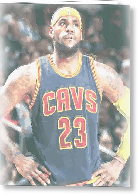 Cleveland Cavaliers Lebron James 5 Greeting Card by Joe Hamilton