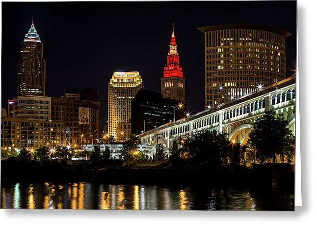Cleveland Celebrates The Wine And Gold Greeting Card by Dale Kincaid