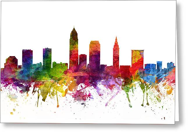 High Rise Greeting Cards - Cleveland Cityscape 06 Greeting Card by Aged Pixel