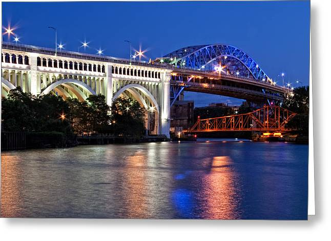 Cleveland Colored Bridges Greeting Card