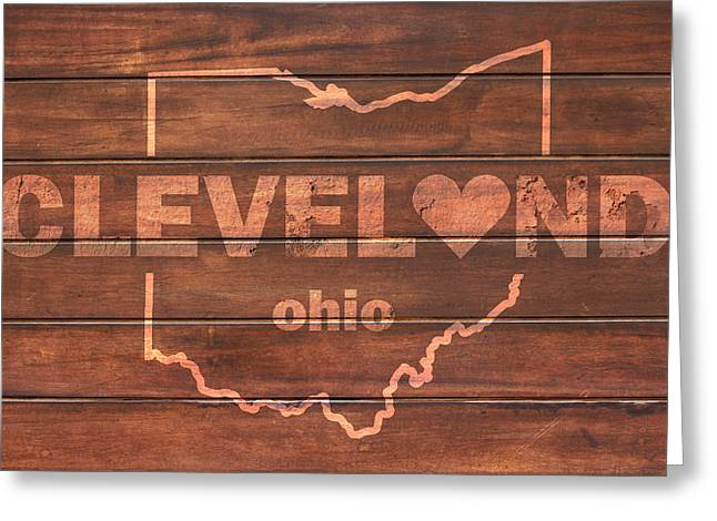 Cleveland Heart Wording With Ohio State Outline Painted On Wood Planks Greeting Card by Design Turnpike