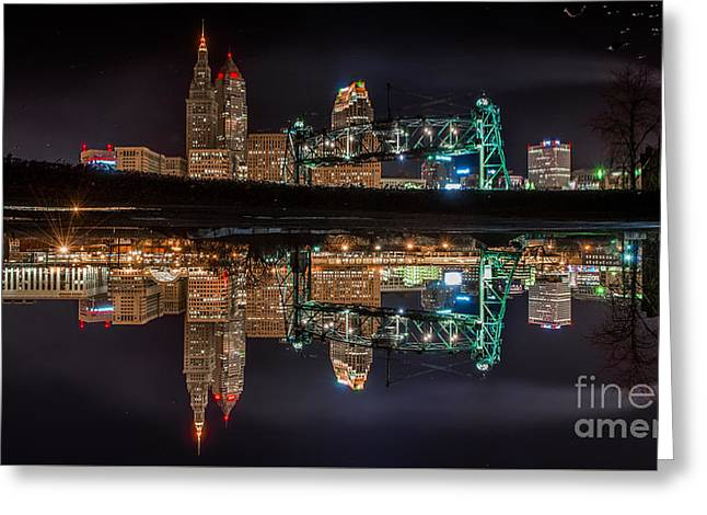 Cleveland In A Puddle Greeting Card by Frank Cramer