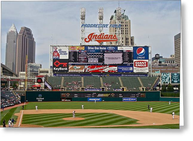 Cleveland Indians At Progressive Field Greeting Card by MB Matthews