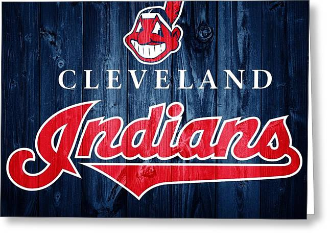 Cleveland Indians Barn Door Greeting Card by Dan Sproul