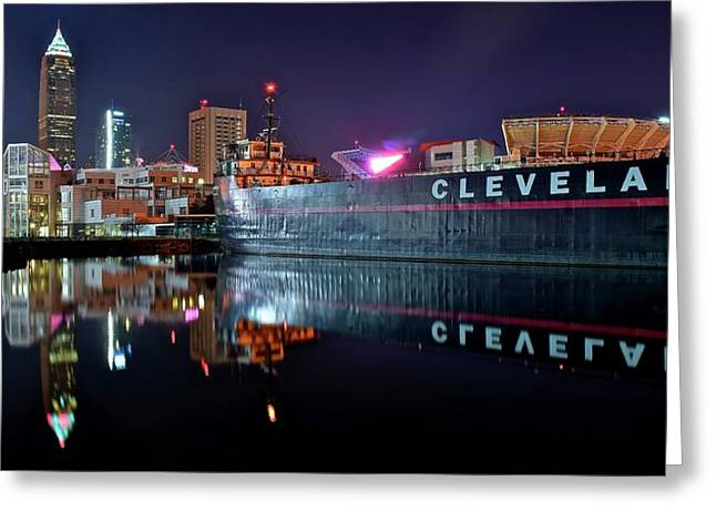 Cleveland Lakefront Pano Reflection Greeting Card