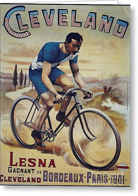 Cleveland Lesna Cleveland Gagnant Bordeaux Paris 1901 Vintage Cycle Poster Greeting Card by R Muirhead Art