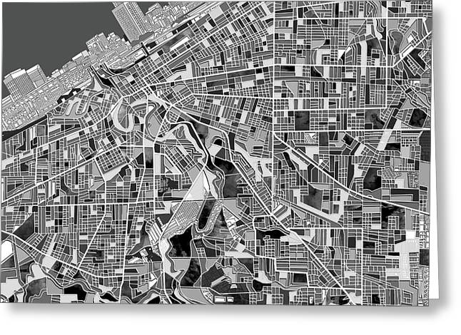 Cleveland Map Black And White Greeting Card