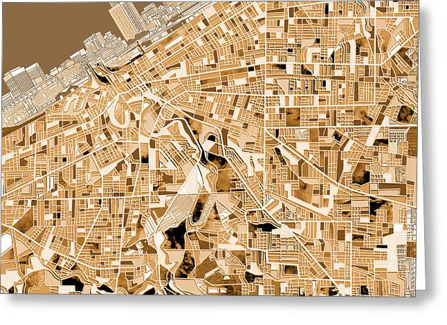 Cleveland Map Sepia Greeting Card
