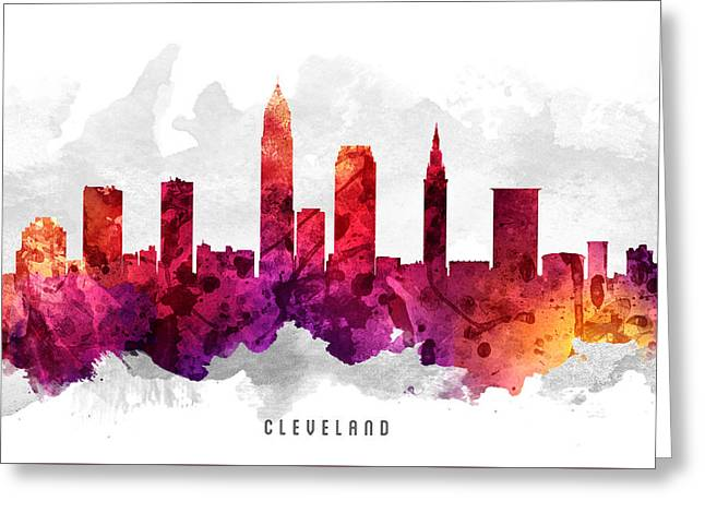Cleveland Ohio Cityscape 14 Greeting Card by Aged Pixel