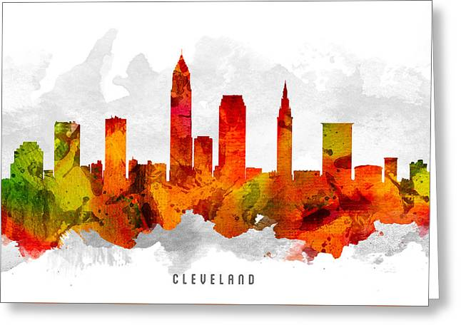 Cleveland Ohio Cityscape 15 Greeting Card by Aged Pixel