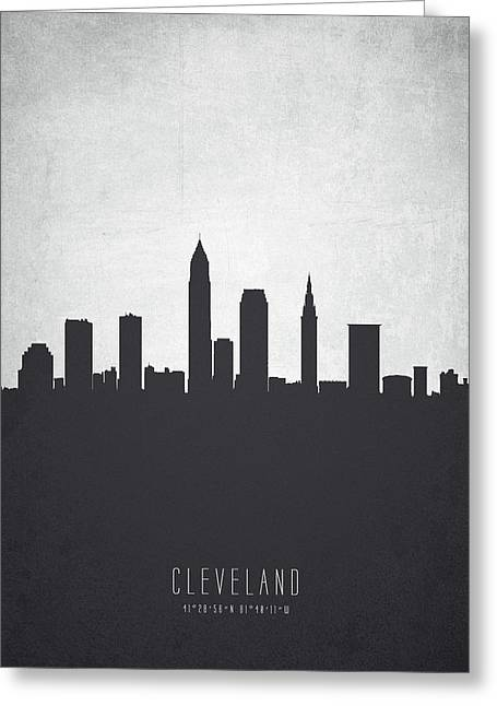 Cleveland Ohio Cityscape 19 Greeting Card by Aged Pixel