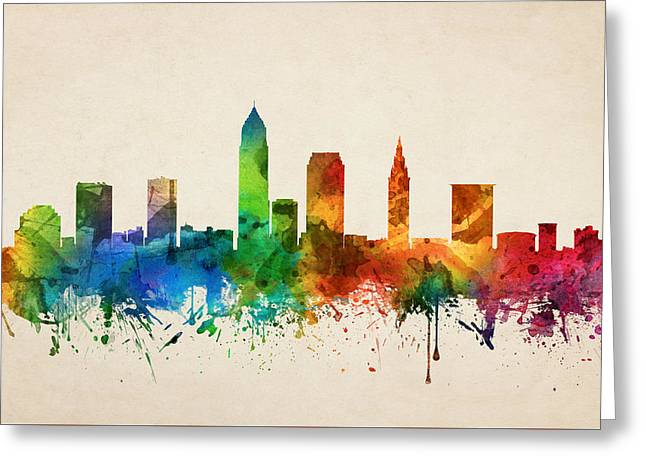 Cleveland Ohio Skyline 05 Greeting Card by Aged Pixel