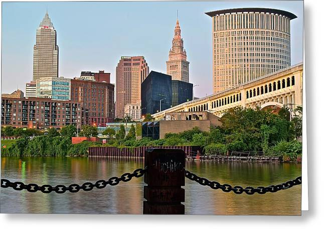 Cleveland Over The Cuyahoga River Greeting Card by Frozen in Time Fine Art Photography