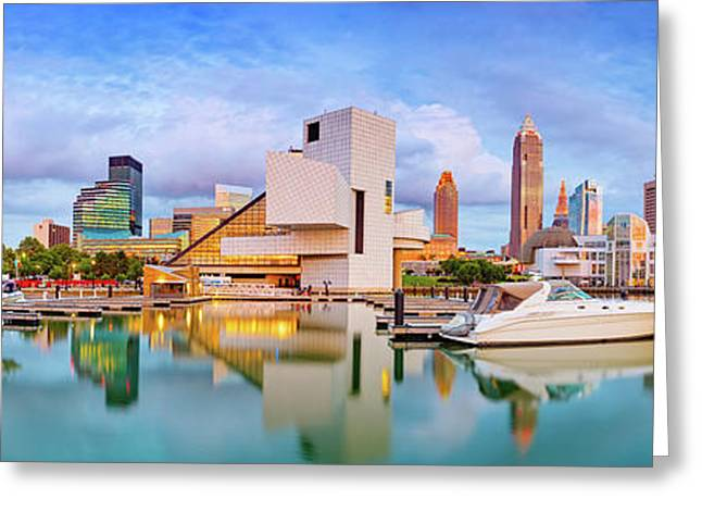 Greeting Card featuring the photograph Cleveland  Pano 1  by Emmanuel Panagiotakis