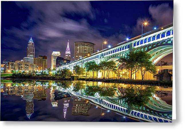Greeting Card featuring the photograph Cleveland Skyline 4 by Emmanuel Panagiotakis